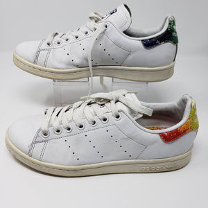 Adidas Stan Smith rainbow and white sneakers